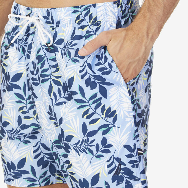 Quick-Dry Floral Swim Trunks,Blue,large