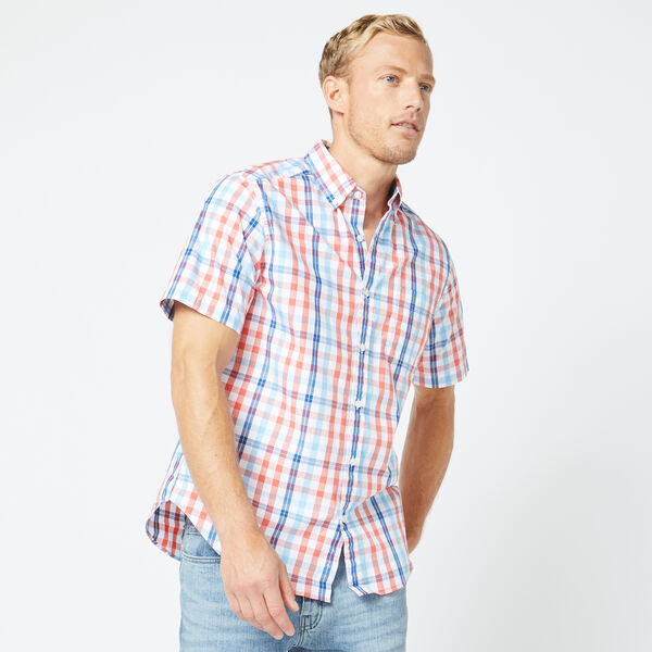 SHORT SLEEVE MULTICOLOR PLAID SHIRT - Coral Dream