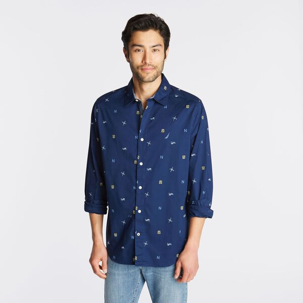BIG & TALL CLASSIC FIT STRETCH OXFORD SHIRT IN MARITIME ICON PRINT - J Navy