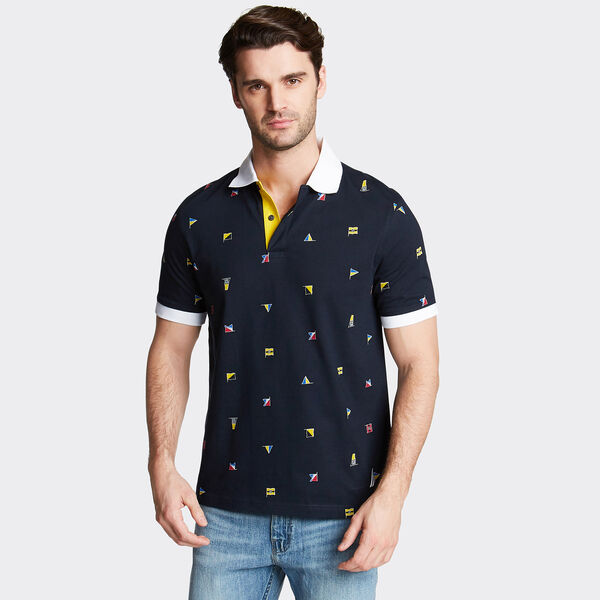 Classic Fit Jersey Polo in Flag Print - Navy