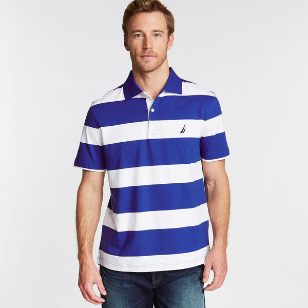 Stripe Classic Fit Polo - Bright Cobalt