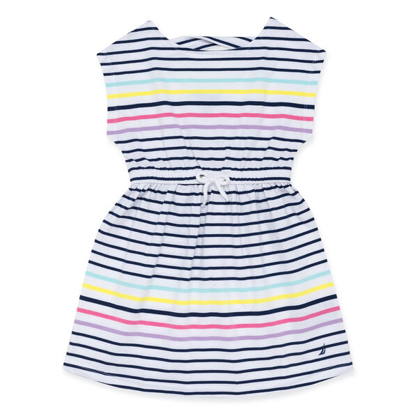 LITTLE GIRLS' JERSEY DRESS IN ENGINEERED STRIPE (4-7) - Aqua Isle