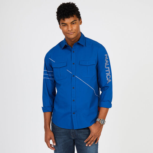 Classic Fit Long Sleeve N '83 Button-Down Shirt,Monaco Blue,large