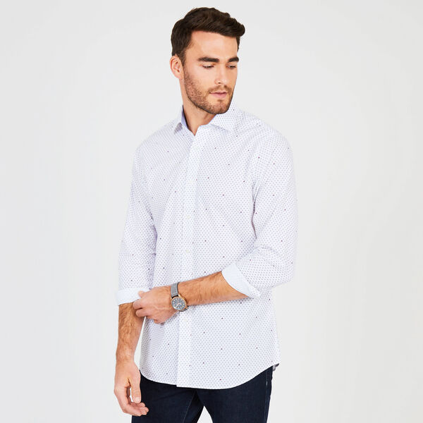 Anchor Motif Classic Fit Long Sleeve Shirt - Riviera Blue