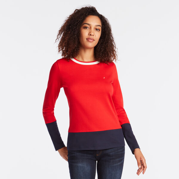 LONG SLEEVE COLORBLOCK TEE - Tomales Red