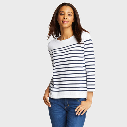 Lace-Up Back Striped Sweater - Bright White