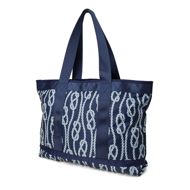 Captain's Quarters Tote - Rope Print,Navy,large