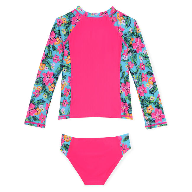 Toddler Girls' Rashguard Two-Piece Swimsuit in Floral Print (2T-4T),Rose,large