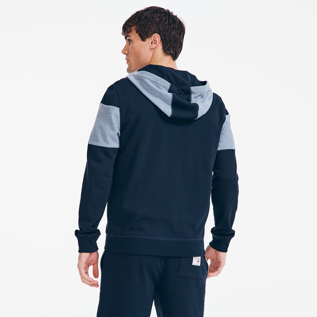 COLORBLOCK FRENCH TERRY ZIP HOODIE,Navy,large