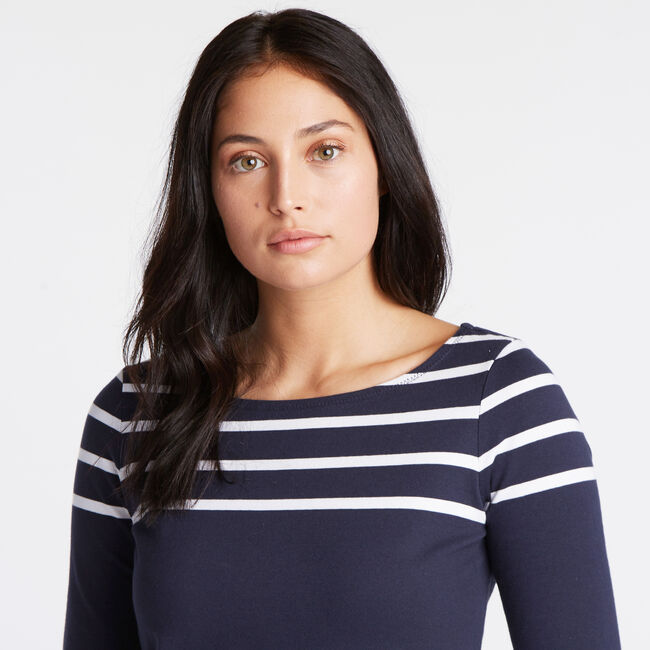 Boatneck Striped Long Sleeve Top,Stellar Blue Heather,large