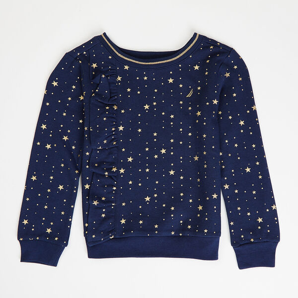 Little Girls' Star Motif Ruffle Pullover (4-6X) - Navy