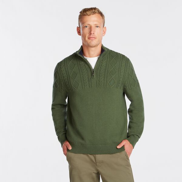 QUARTER-ZIP CABLE-KNIT SWEATER - Pineforest