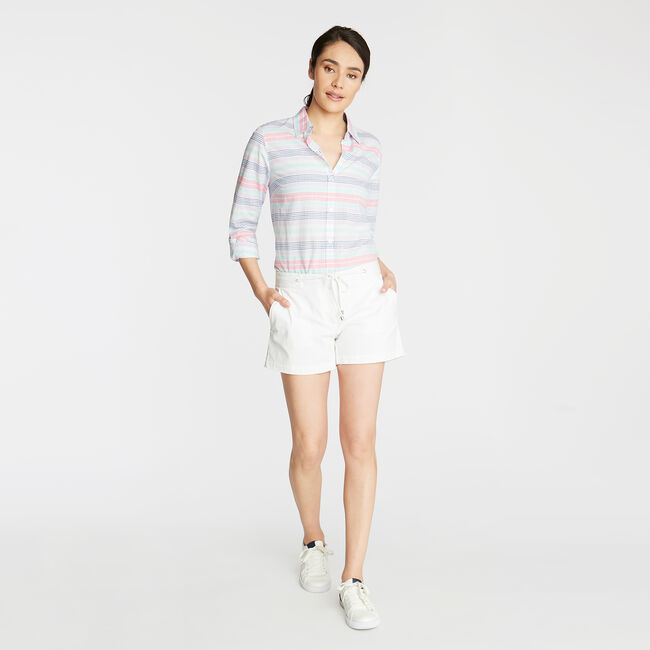 CLASSIC FIT WOVEN SHIRT IN YARN DYED STRIPE,Lavender,large