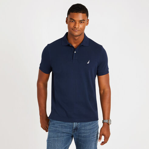 Short Sleeve Slim Fit Solid Interlock Polo - Navy