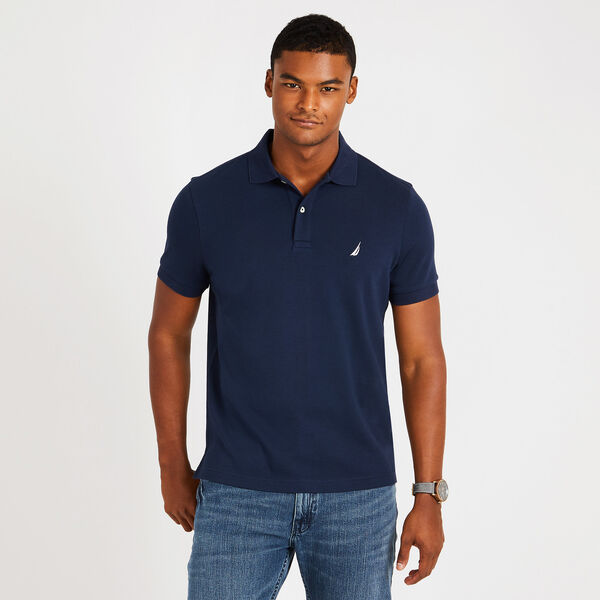 Slim Fit Solid Interlock Cotton Polo - Pure Dark Pacific Wash