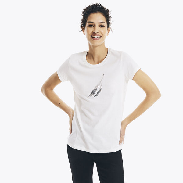 SUSTAINABLY CRAFTED SEQUIN J-CLASS T-SHIRT - Marshmallow