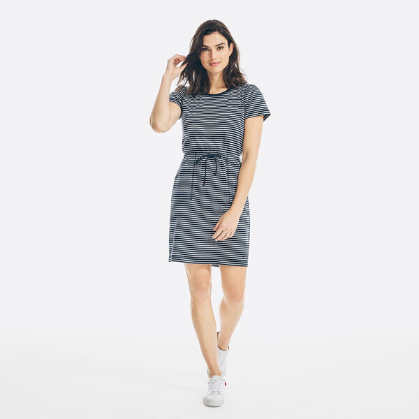SUSTAINABLY CRAFTED STRIPED PUFF SLEEVE DRESS - Stellar Blue Heather