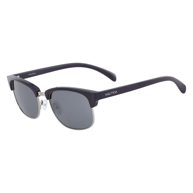 Iconic Clubmaster Sunglasses with Navy Frame,Workshirt Blue,large