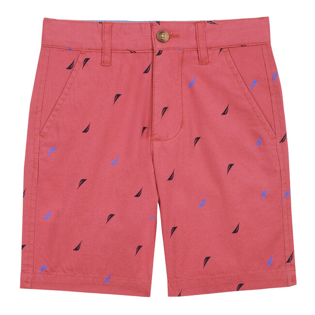 Boys' Jeff Print Woven Shorts,Deep Fuschia,large