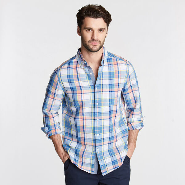 Classic Fit Linen Blend Shirt in Plaid - Silver Lake Blue