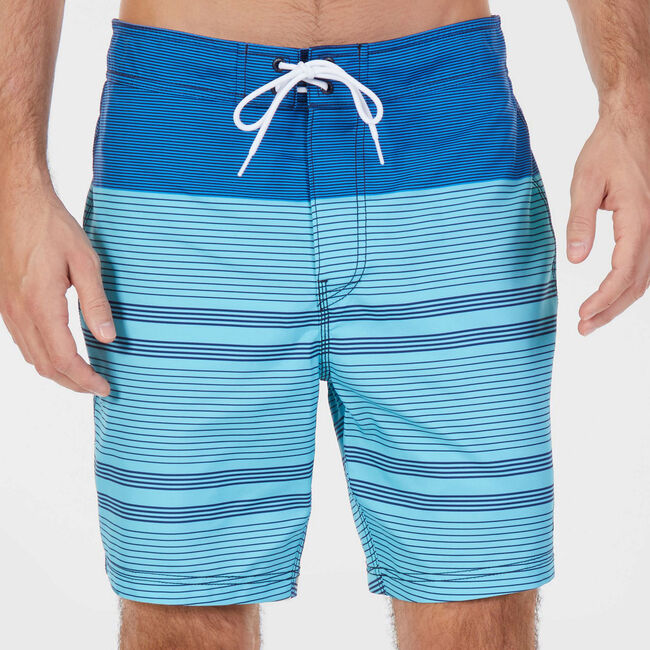 "8"" SWIM SHORT IN ENGINEERED STRIPE,Sapphire,large"