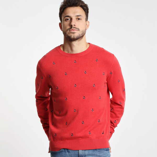 Maritime Anchor Motif Crewneck Sweater - Dark Acacia
