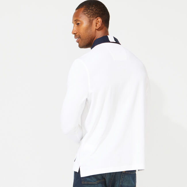 CLASSIC FIT LONG SLEEVE RUBGY POLO,Bright White,large