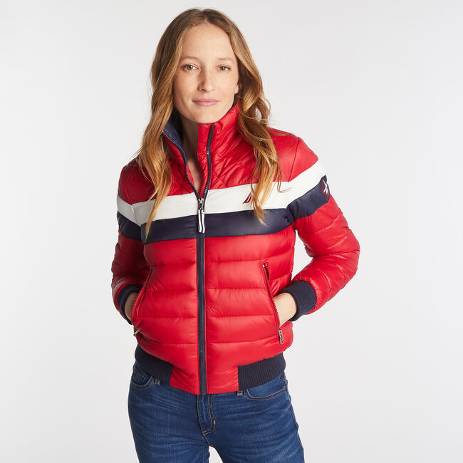 COLORBLOCK PUFFER JACKET WITH TEMPASPHERE,Tomales Red,large