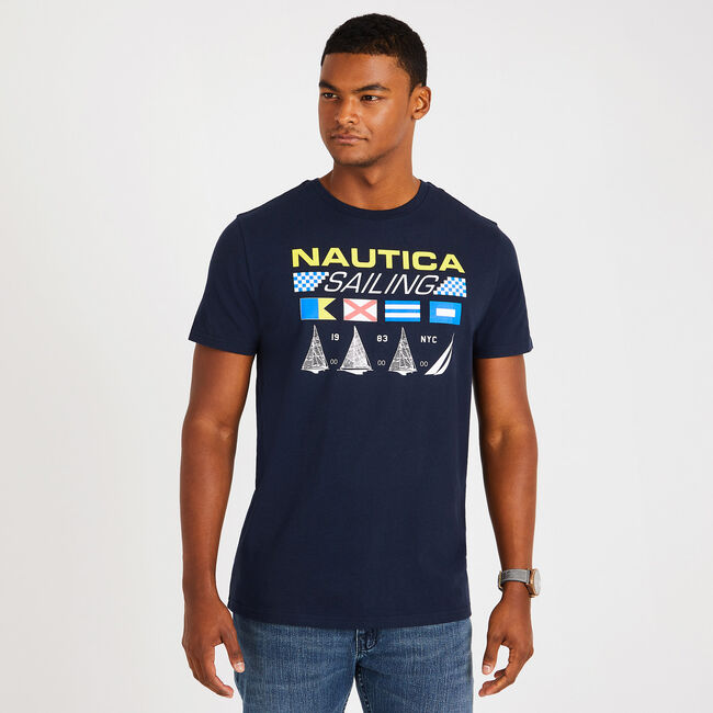 Nautica Sailing Crewneck T-Shirt,Navy,large