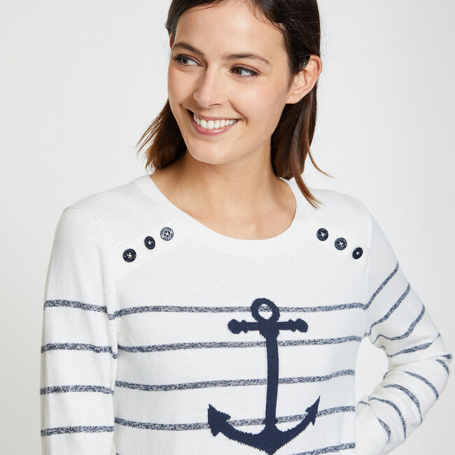 Striped + Anchor Crewneck Sweater,Marshmallow,large