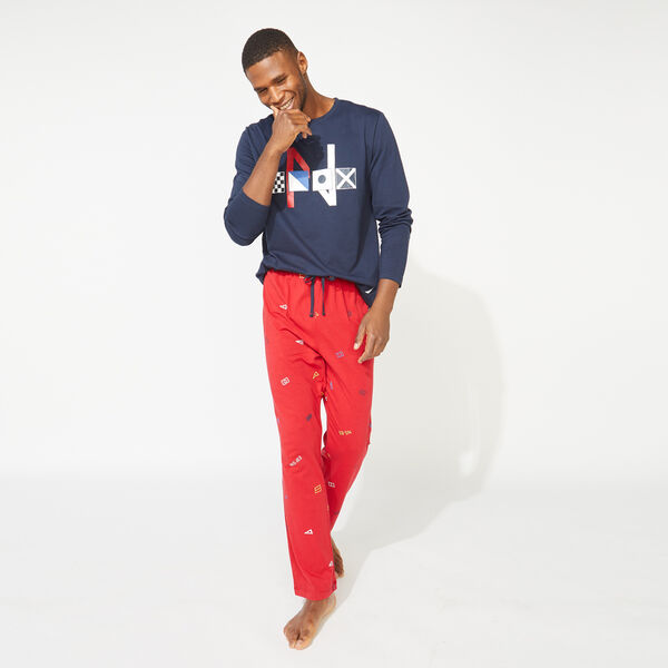 SLIM FIT GRAPHIC LONG SLEEVE AND KNIT PANTS PAJAMA SET - Navy