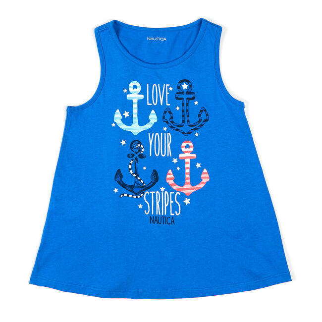 Little Girls' Love Your Stripes Tank Top (4-6X),Classic Blue,large