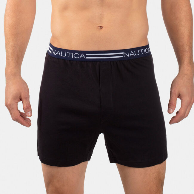 Stretch Solid Knit Boxers,Black,large
