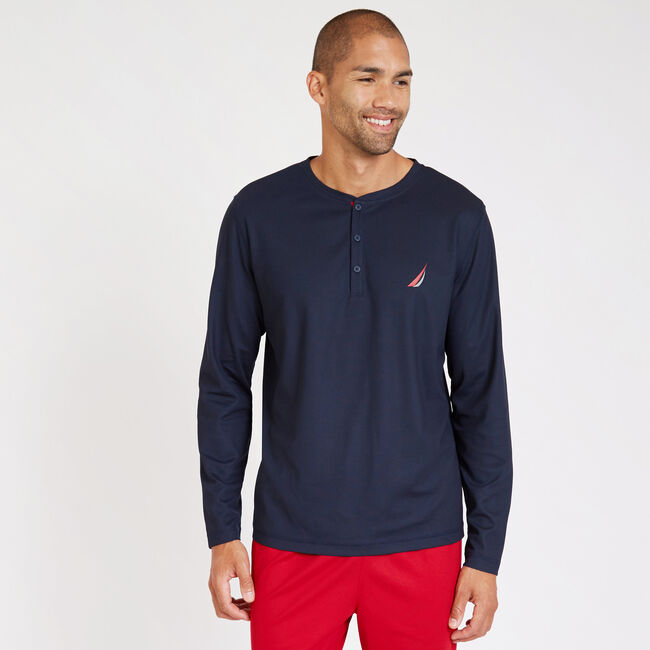 Sueded Jersey Long Sleeve Performance Henley,Navy,large