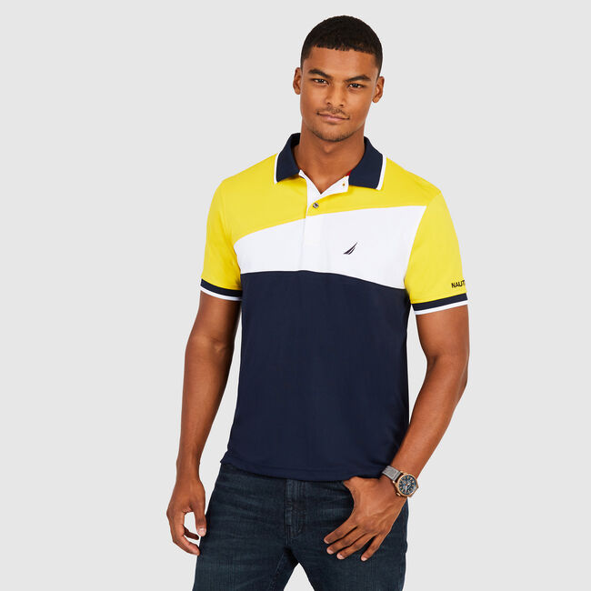 Classic Fit Colorblock  Tech Polo,Buoy Yellow,large