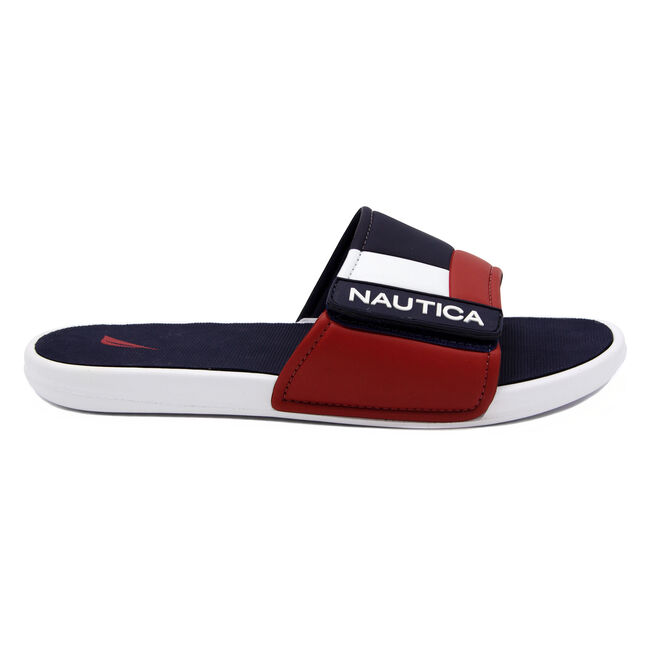 COLORBLOCK LOGO SLIDE SANDALS,Navy,large