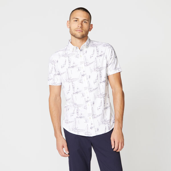 CLASSIC FIT BOAT PRINT SHIRT - Bright White