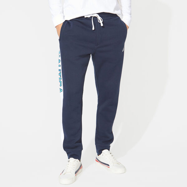 SIDE STRIPE LOGO TRACK PANTS - Navy
