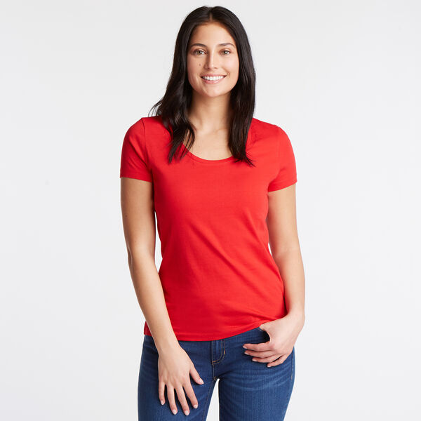 Scoop-Neck Solid T-Shirt - Tomales Red