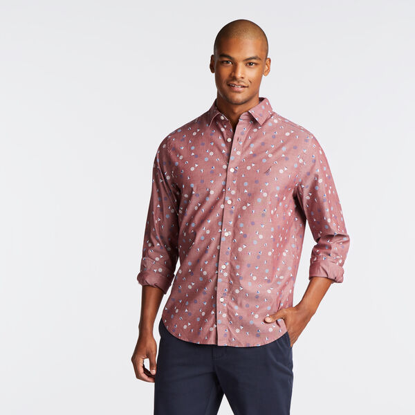 CLASSIC FIT STRETCH OXFORD IN BOAT AND ANCHOR PRINT - Zinfandel