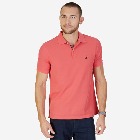 Big & Tall Short Sleeve Classic Fit Pique Deck Polo - Dreamy Coral