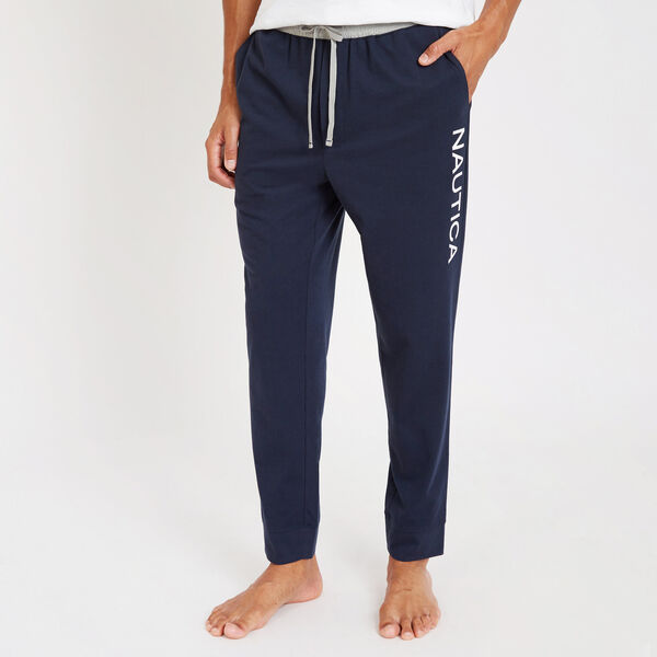 Graphic Logo Sueded Jersey Joggers - Navy