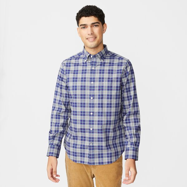 CLASSIC FIT WRINKLE-RESISTANT PLAID SHIRT - Grey Heather
