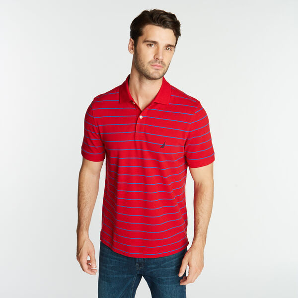 CLASSIC FIT STRIPE DECK POLO - Nautica Red