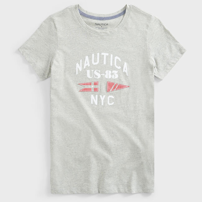 ANCHOR AND FLAG GRAPHIC T-SHIRT,Grey Heather,large