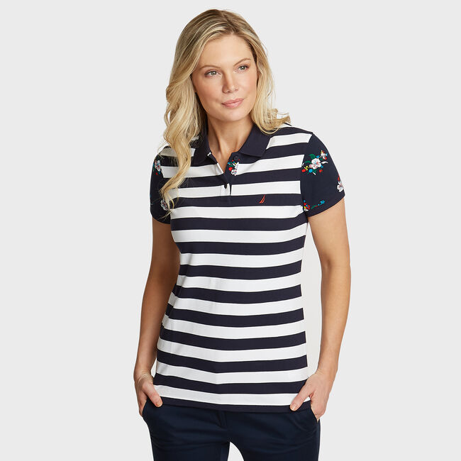 Floral Sleeve Pique Polo,Stellar Blue Heather,large