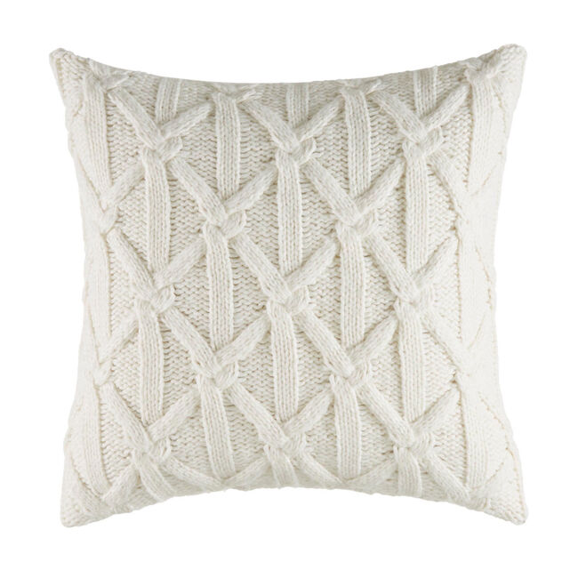 Clearview Ivory Square Lattice Knit Pillow,Antique White Wash,large