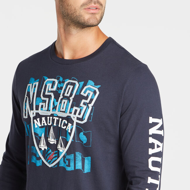 LAYERED LOGO AND FLAG GRAPHIC LONG SLEEVE T-SHIRT,Navy,large