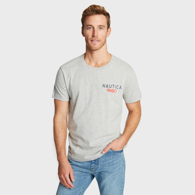 CREWNECK T-SHIRT IN KNOT INN GRAPHIC,Grey Heather,large