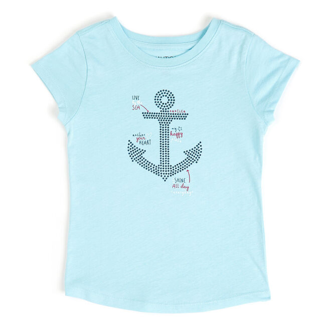 Toddler Girls' Ruffle Sleeve Anchor Tee (2T-4T),Dream Blue,large